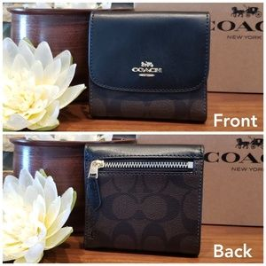 COACH SMALL TRIFOLD WALLET SIGNATURE BROWN BLACK F87589 NWT RETAIL $135